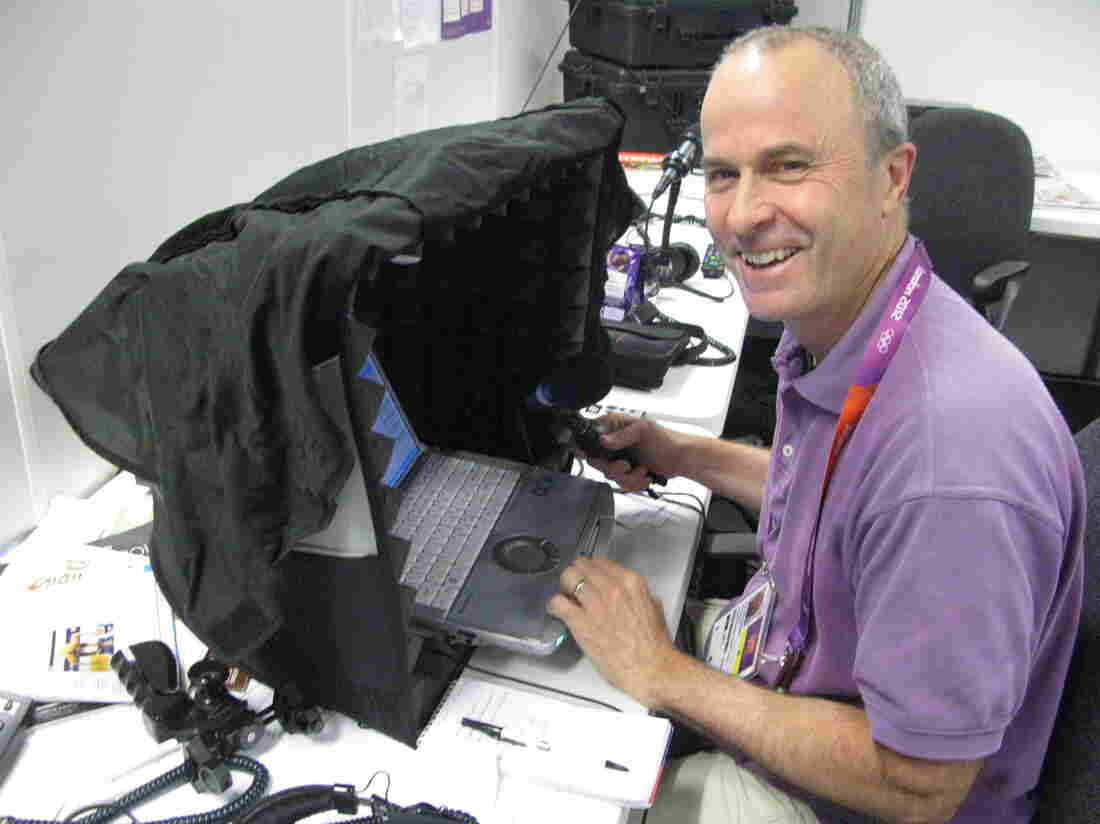 NPR's Tom Goldman using the new portable desktop soundbooth while filing an Olympic news spot in London.