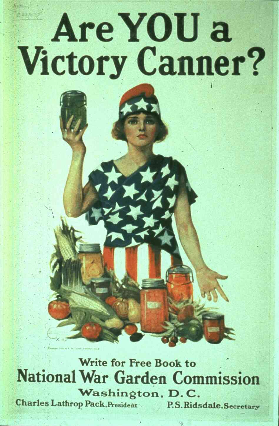This poster from World War I encourages women to become patriotic 'victory canners'.