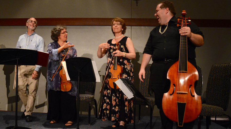 Jack Ashworth, Tina Chancey, Lisa Terry and Phillip Serna perform Sunday during the closing banquet of the weeklong conclave at the University of Delaware in Newark, Del. (Scott Mason)