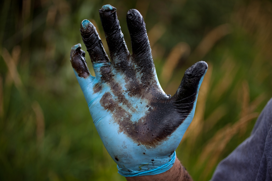 Bolenbaugh holds up a hand coated with oil sludge he has found in the Kalamazoo River two years after the spill, and two weeks after the state and EPA reopened the river to recreational use. (NPR)