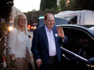 Sheldon Adelson and his wife, Miriam, leave a speech by Republican presidential candidate Mitt Romney in Jerusalem on Sunday.