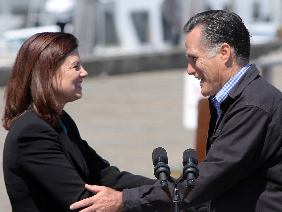 Sen. Kelly Ayotte campaigns with Mitt Romney in Portsmouth, N.H., in April.