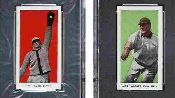 """Two of the most valuable cards in the collection: Ty Cobb (left) and Honus """"Hans"""" Wagner."""