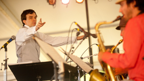 Darcy James Argue leads his Secret Society big band at the 2010 Newport Jazz Festival.