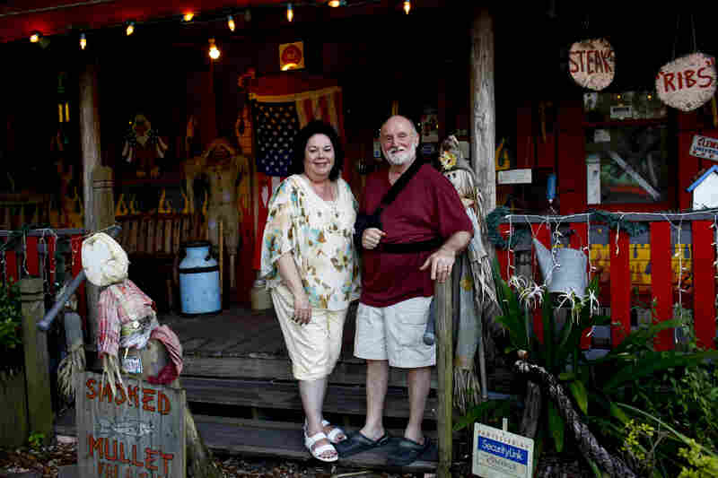"Hot Rods BBQ is a family owned restaurant in Lutz, Fla. ""Hot Rod"" Gaudin, his wife, Helen, and their extended family all pitch in telling jokes, sharing food and manning the wood-burning grill. Rod Gaudin supports Mitt Romney but his wife is undecided."