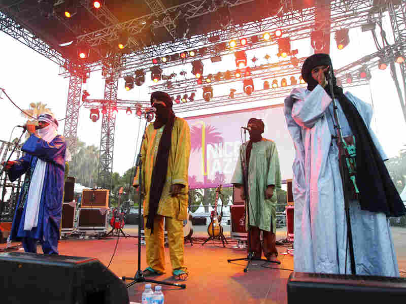 A Tuareg band from Mali, Tinariwen, performs in Nice, France, in July. The band has developed an international reputation and won a Grammy this year. See them perform at NPR headquarters.