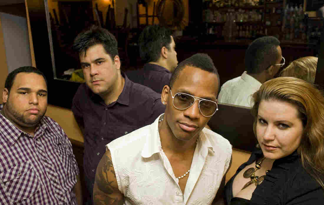 Conguero Pedrito Martinez (center right) and his group lead off NPR Music's coverage of the 2012 Newport Jazz Festival.