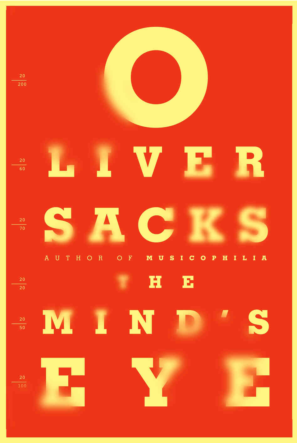 "The Mind's Eye by Oliver Sacks: ""This book by the renown neuro-scientist is about how eyesight works in the brain and how it doesn't. When the author goes to the optometrist for a checkup and the eye chart starts doing strange things, he knows there is a problem. It spurs him on to research the miraculous phenomena of how we see."""