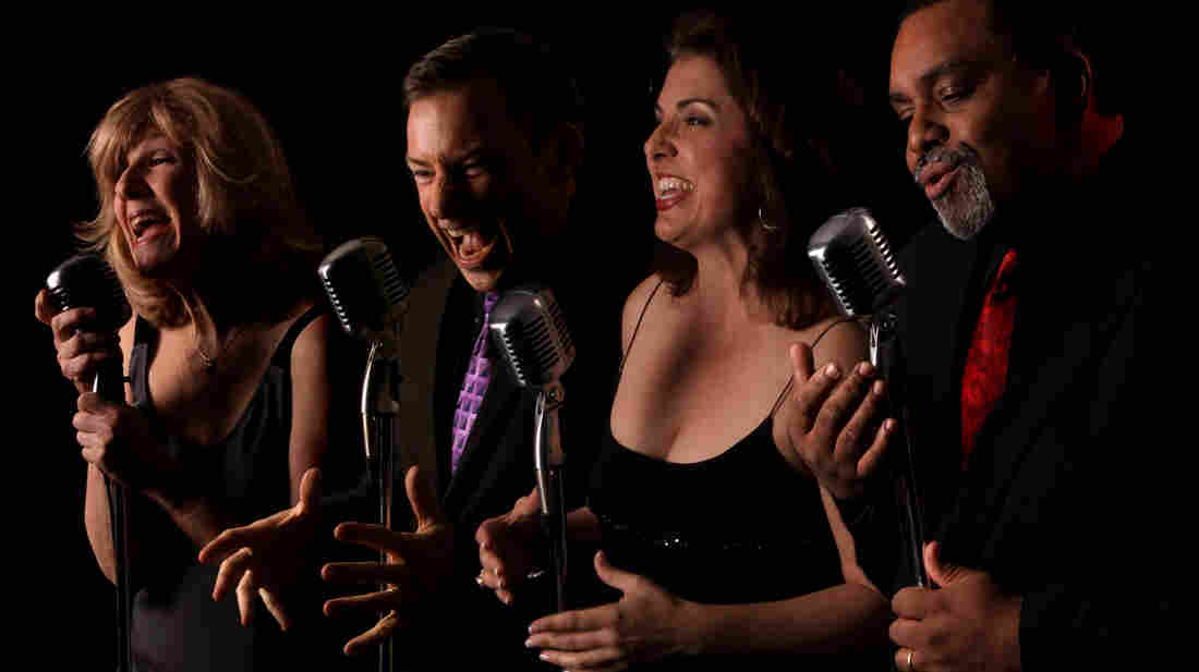 The Uptown Vocal Jazz Quartet, left to right: Ginny Carr, alto; Robert McBride, tenor; Holly Shockey, soprano; and Andre Enceneat, bass. The group's new album, Hustlin' for a Gig, came out in May.