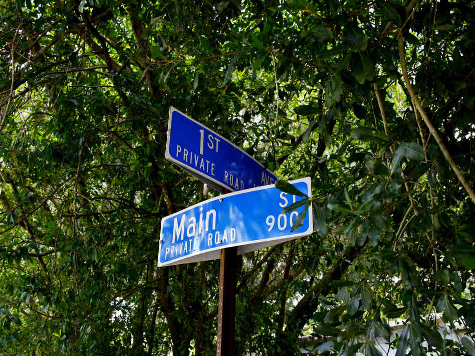 The intersection of First and Main in Lutz, Fla., is located on a privately owned road in a trailer park community.