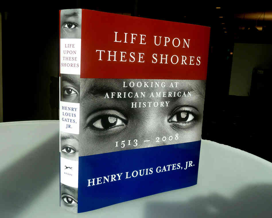 "Life Upon These Shores by Henry Louis Gates, Jr.: ""The author wanted an image 'out of time,' not specific to any one era, because the book spans centuries. I culled the conceptual emphasis from the word 'Looking' in the subtitle, and then augmented that with basic elements of the American flag."""