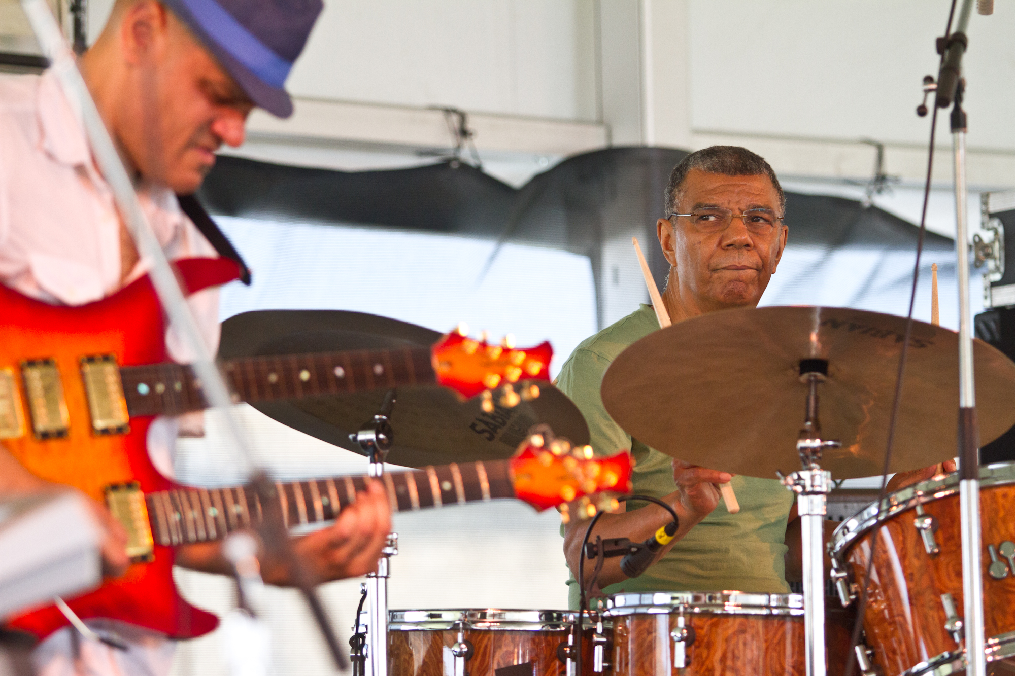 Jack DeJohnette (right) will turn 70 not long after the Newport Jazz Festival ends, but you wouldn't know it from the two vigorous sets he performed with two different groups on Saturday.
