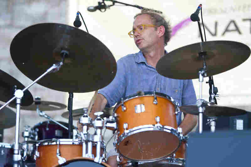 Drummer Kenny Wollesen performs with Bill Frisell at the 2012 Newport Jazz Festival.