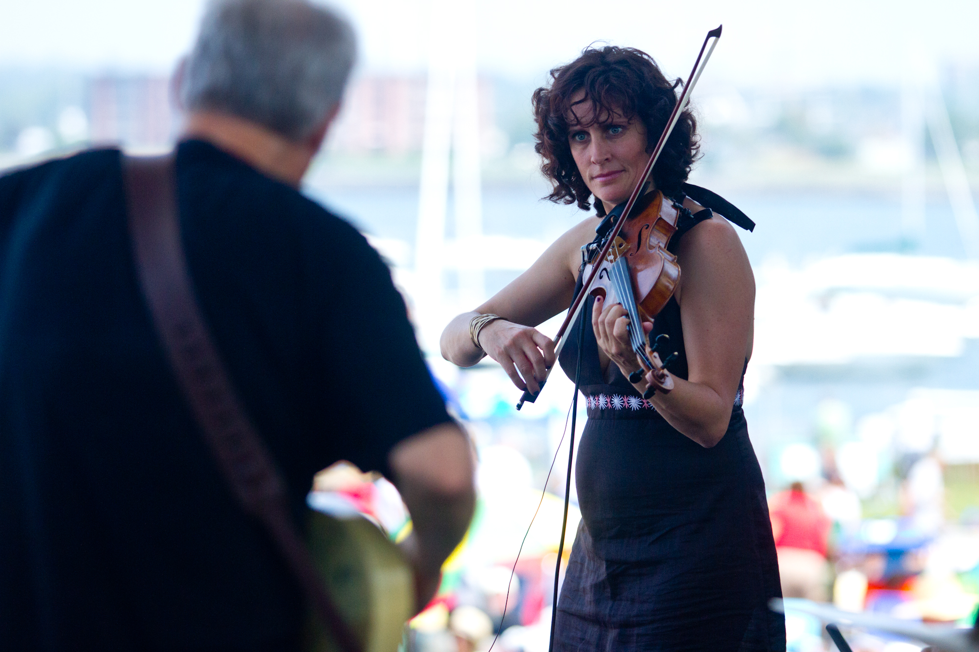 Jenny Schienman leaned into her violin during the Bill Frisell Plays John Lennon set.