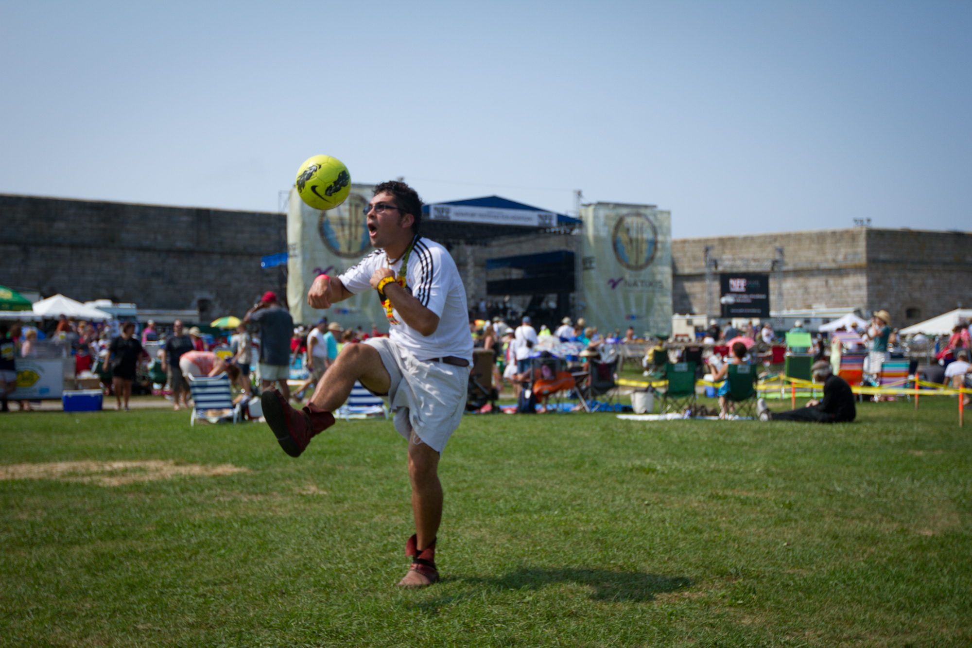 Quetzal Rodriguez of Phoenicia, N.Y., juggled a soccer ball on the Fort Adams State Park grounds, the home of the Newport Jazz Festival.