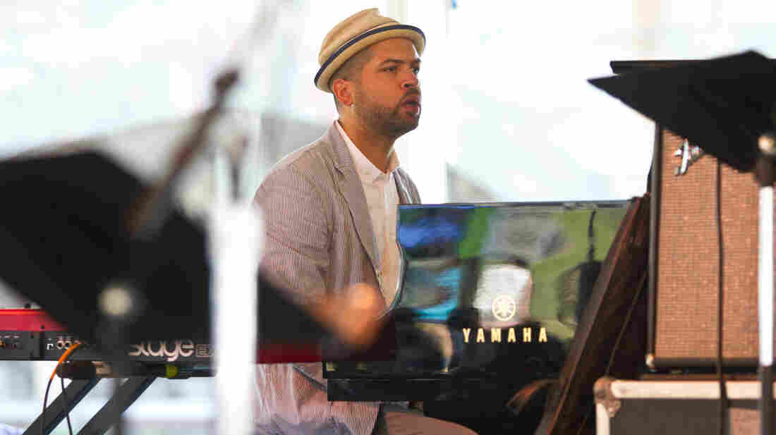 Pianist Jason Moran performs as a part of the Jack DeJohnette All-Stars at the 2012 Newport Jazz Festi