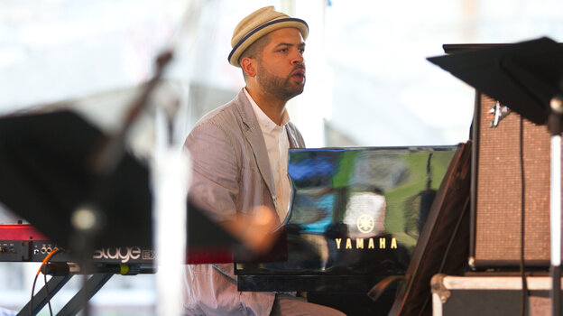Pianist Jason Moran performs as a part of the Jack DeJohnette All-Stars at the 2012 Newport Jazz Festival.