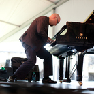 Pianist Ethan Iverson of The Bad Plus performs at the 2012 Newport Jazz Festival.