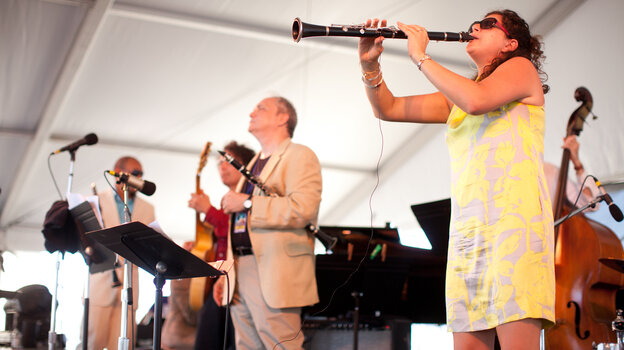The 3 Clarinets — (left to right) Evan Christopher, Ken Peplowski and Anat Cohen — play on the Harbor Stage at the Newport Jazz Festival.