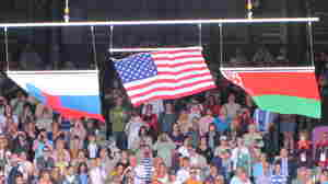 U.S. Flag Gets Blown Away At Tennis Medal Ceremony