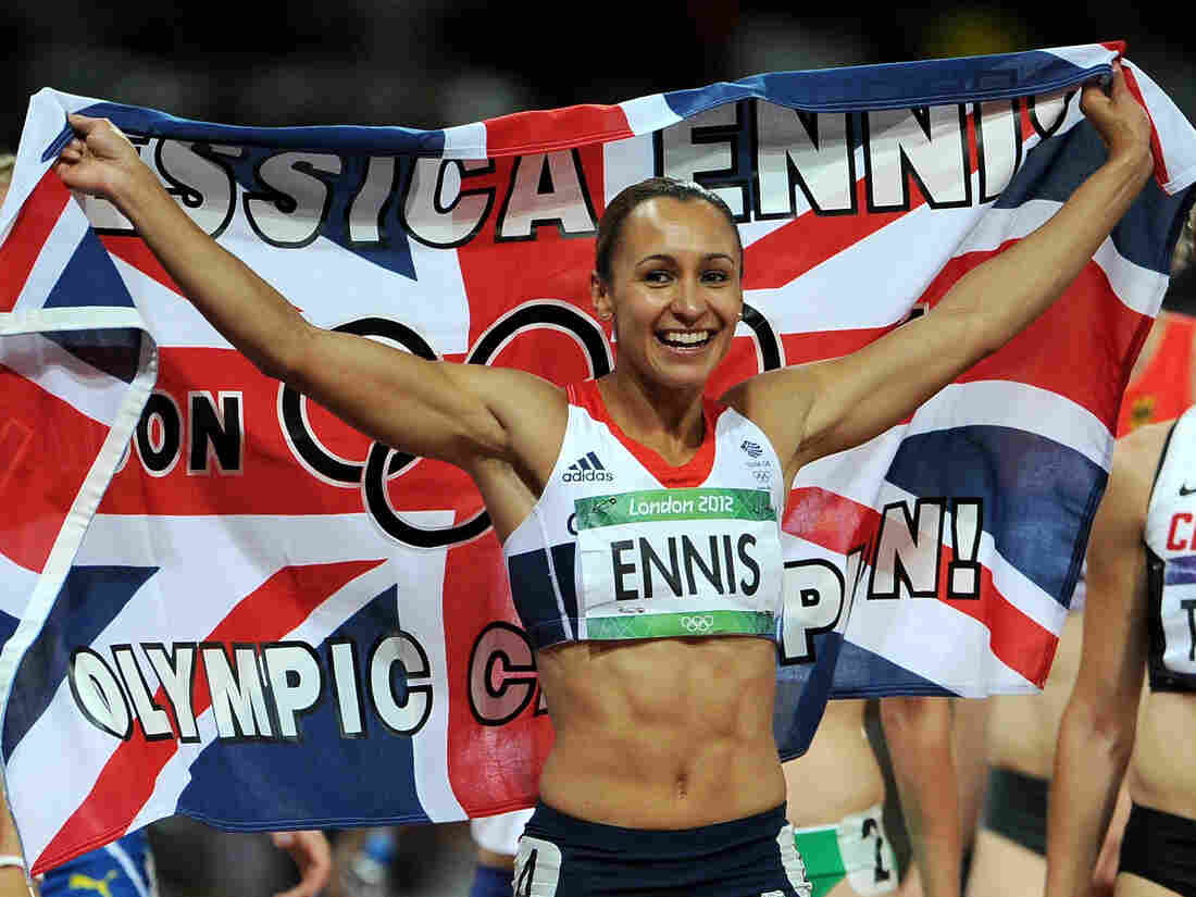 Jessica Ennis of Great Britain  celebrates after winning gold Saturday in the heptathlon on Day 8 of the London 2012 Olympic Games.