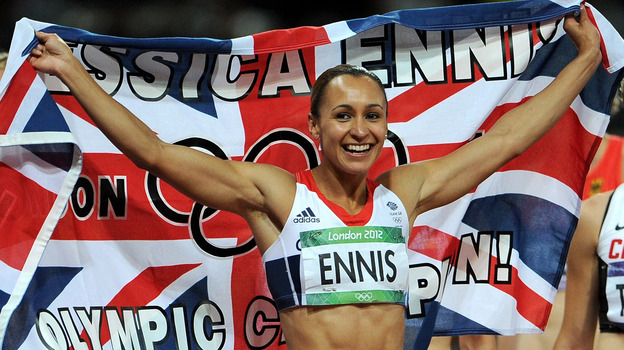 Jessica Ennis of Great Britain celebrates after winning gold Saturday in the heptathlon on Day 8 of the London 2012 Olympic Games. (Getty Images)