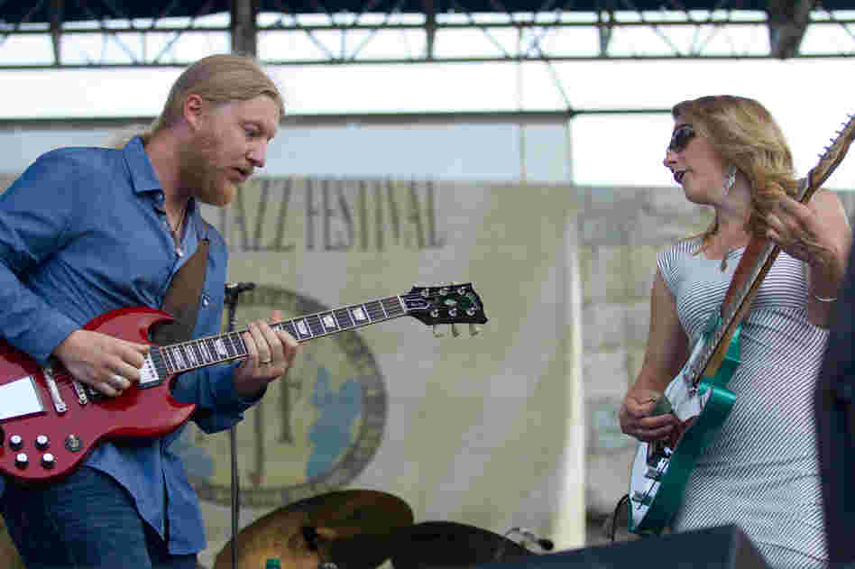 The husband-and-wife team of guitar hero Derek Trucks and mighty singer Susan Tedeschi perform on the Fort Stage. The 11-piece Tedeschi Trucks Band closed out Newport with a show which lasted nearly two hours.