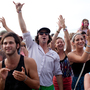 Fans celebrate the close of the Newport Jazz Festival.
