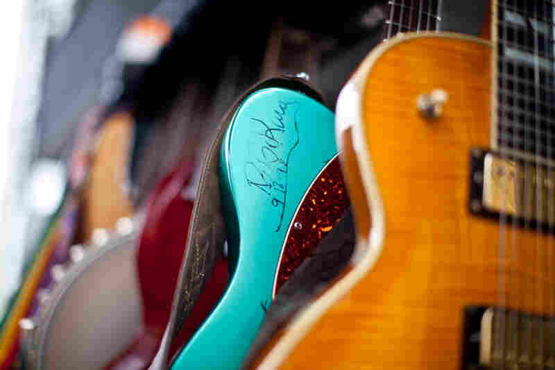 B.B. King's signature adorns a guitar, as seen behind the Fort Stage before the start of Sunday at the Newport Jazz Festival.