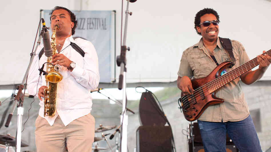 Saxophonist Rudresh Mahanthappa performs with bassist Rich Brown at the 2012 Newport Jazz Festival.