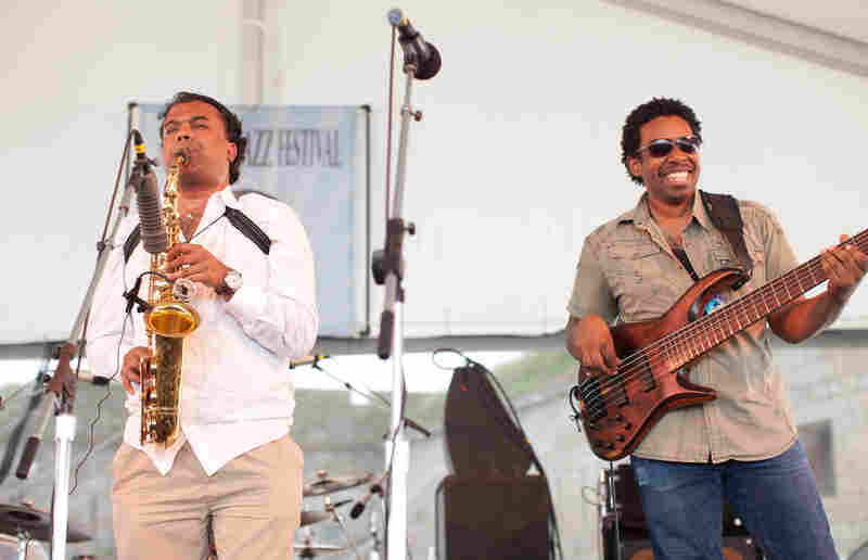 "Rudresh Mahanthappa presented music from his album Samdhi with a quartet featuring bassist Rich Brown. The alto saxophonist told the audience he was inspired by doping at the 1996 Olympics (""Enhanced Performance"") and the leader of the Rent Is Too Damn High Party (""breakfastlunchanddinner"")."