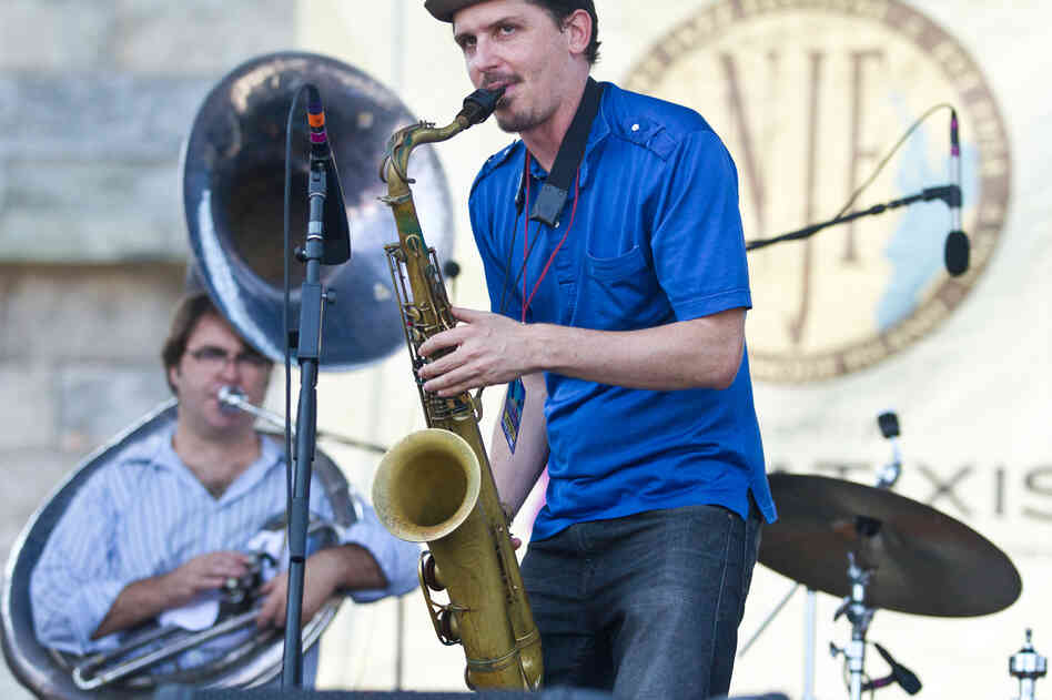 "Song titles like ""Three-Legged Tango In Jackson Square"" and ""Zydeco Clowns On The Lam"" clue us into the Southern Gothic imagination of saxophonist John Ellis and his band, Double-Wide. New Orleans resident Matt Perrine played sousaphone bass during the festival's first main-stage show."