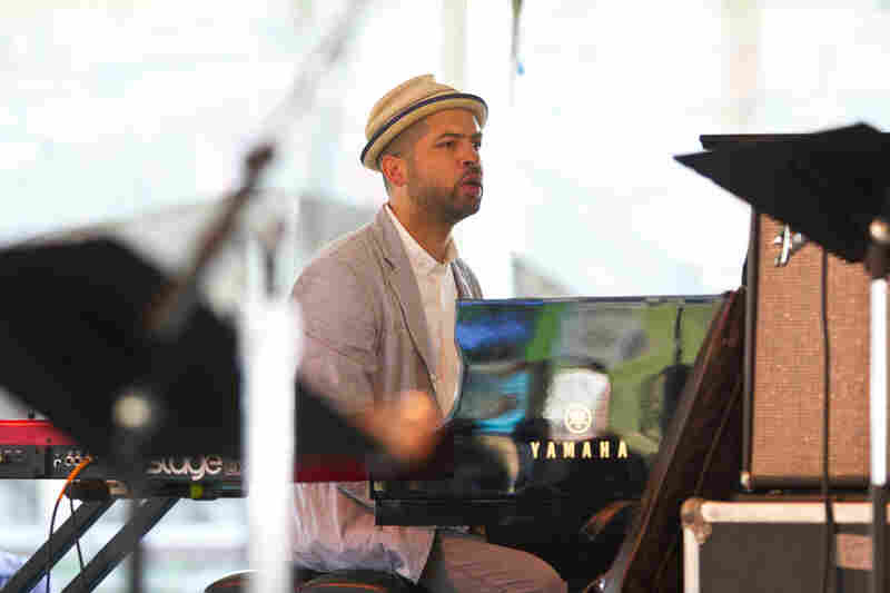 Pianist Jason Moran stepped up to the Quad Stage for a loose-limbed duet interlude with master drummer Jack DeJohnette. Moran also played later in the weekend with his own trio, the Bandwagon.