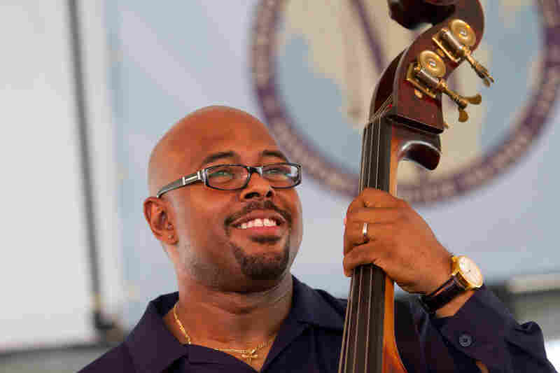 Christian McBride was all smiles while steering his quintet, Inside Straight. Hours later, he would jam with master drummer Jack DeJohnette during an all-star performance.