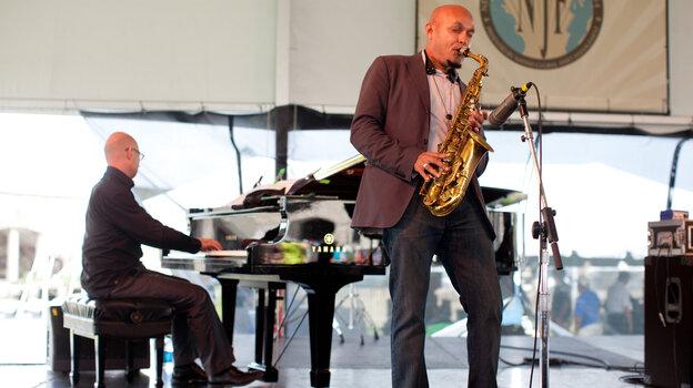 Saxophonist Miguel Zenón performs with pianist Laurent Coq at the 2012 Newport Jazz Festival.