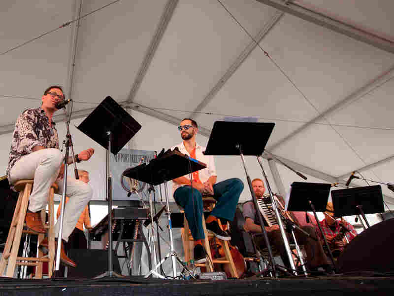 Vocalists Kurt Elling (left) and Theo Bleckmann (center) were crucial to drummer John Hollenbeck's setting of the poems of Kenneth Patchen. Hollenbeck brought his unique Claudia Quintet, which was actually a sextet with the addition of a pianist.