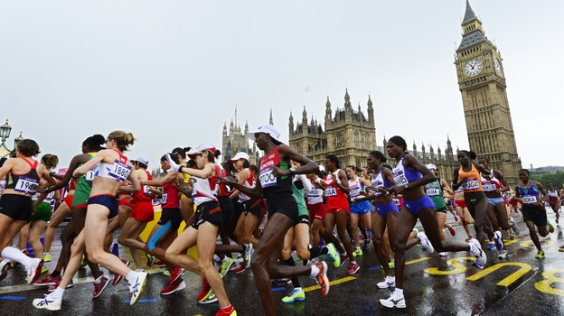 Women marathoners raced past Big Ben. (AFP/Getty Images)