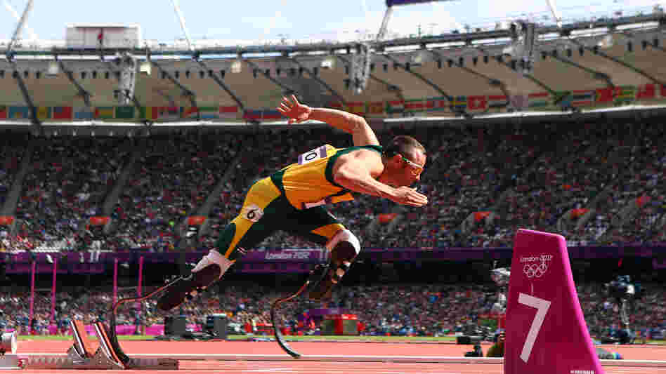 Oscar Pistorius of South Africa leaving the starting blocks in Saturday's round 1 of the men's 400-meters race.