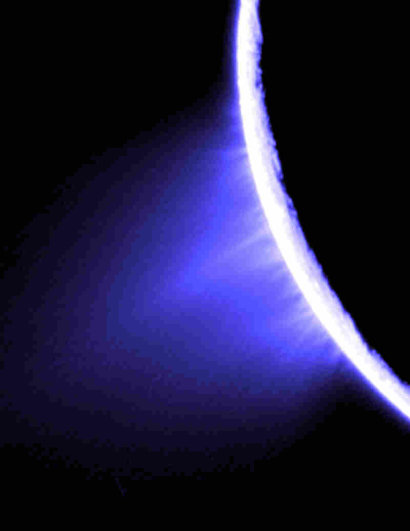 A geyser on the south pole of Enceladus has been spewing what scientists believe to be water from a subsurface source. The water contains organic compounds, which may hold clues to extra-terrestrial life.