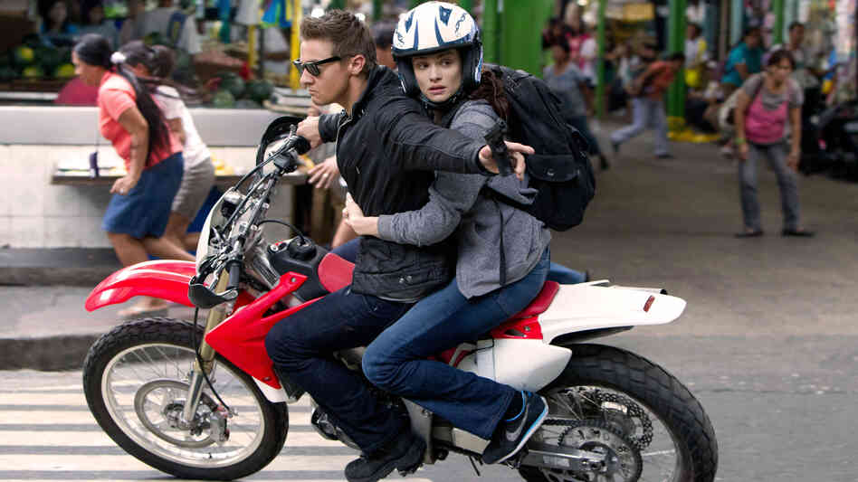 Aaron Cross (Jeremy Renner) and Marta Shearing (Rachel Weisz) in an action sequence from The Bourne Legacy. The franchise, now four installments in, marches on with a new lead character and actor.