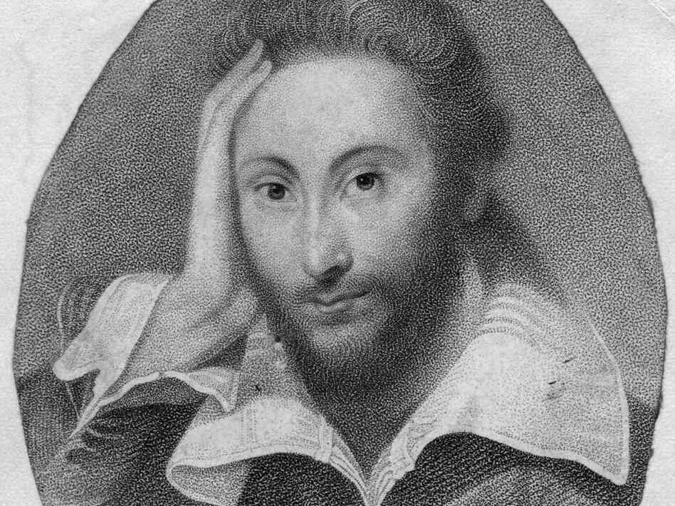 Circa 1610, a portrait of William Shakespeare (1564 - 1616).