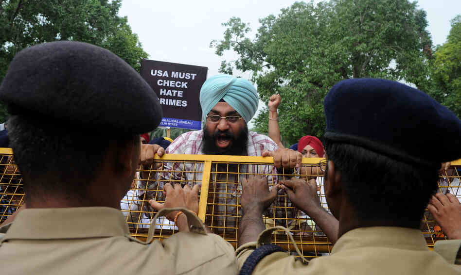 Activists of the Shiromani Akali Dal shout anti-US slogans during a protest near the U.S. embassy in New Delhi on Monday.