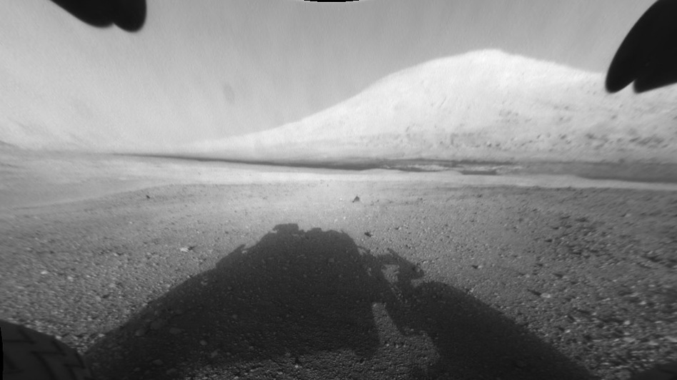 This image taken by NASA's Curiosity shows what lies ahead for the rover — its main science target, Mount Sharp. (NASA's Curiosity )