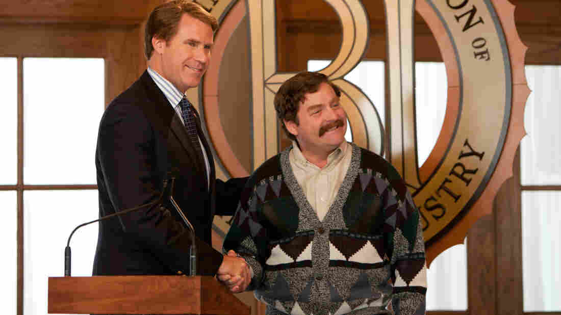 Cam Brady (Will Ferrell) and Marty Huggins (Zack Galifianakis) are political rivals in The Campaign, a movie that improves the more it lets the two actors veer toward the outlandish.