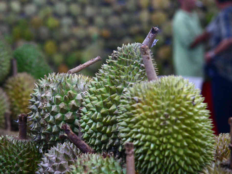 Durians for sale at a Singapore market.