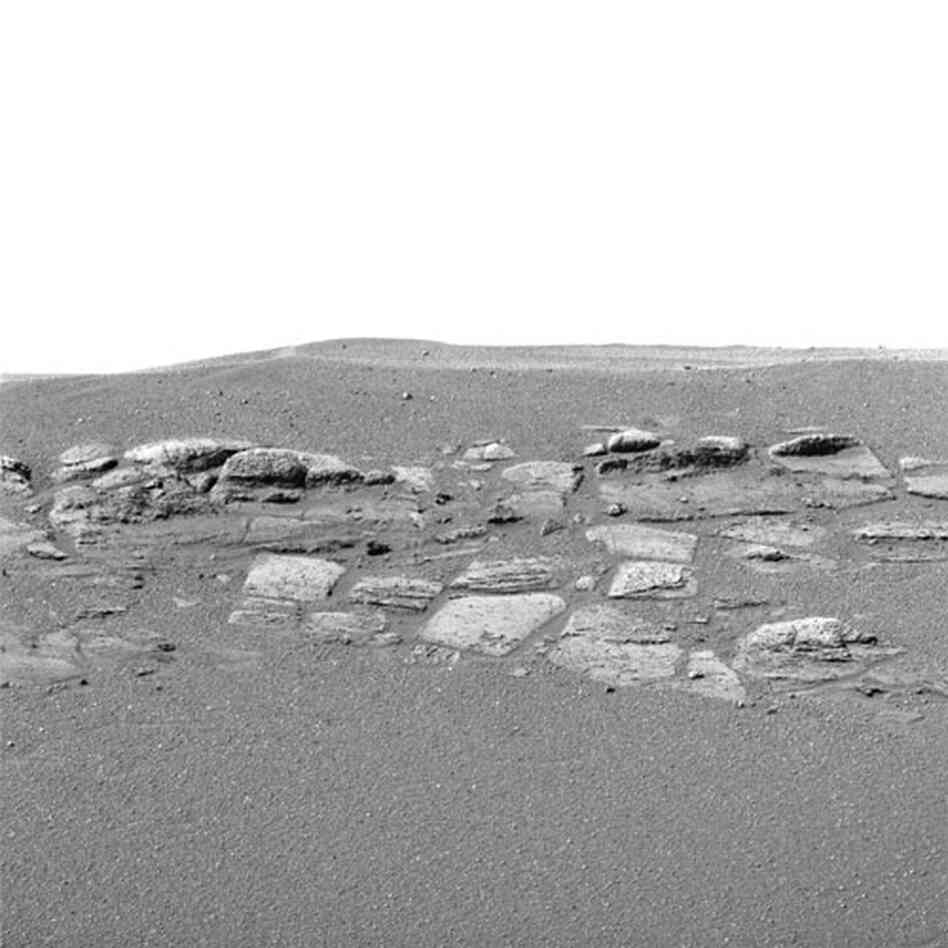 Opportunity's panoramic camera shows a portion of the Martian rock outcropping, 2004.