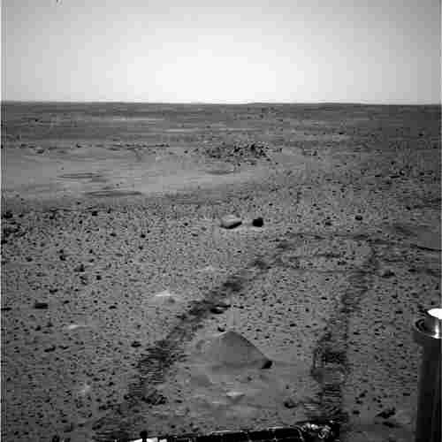 This image taken by Spirit in 2004 shows the tracks it created in the Martian soil.