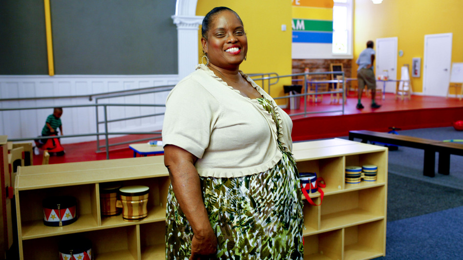 Joselyn Walker-Saffore is an Obama supporter but says the middle class has been suffering. She attended St. Paul's for decades before it was converted into a community center. (NPR)