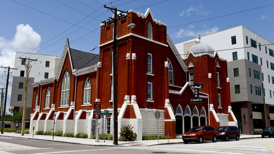 The St. Paul AME Church in downtown Tampa was a focal point of the city's black community, but is now a community center for an adjacent apartment complex. A dwindling congregation forced the church to close. (NPR)