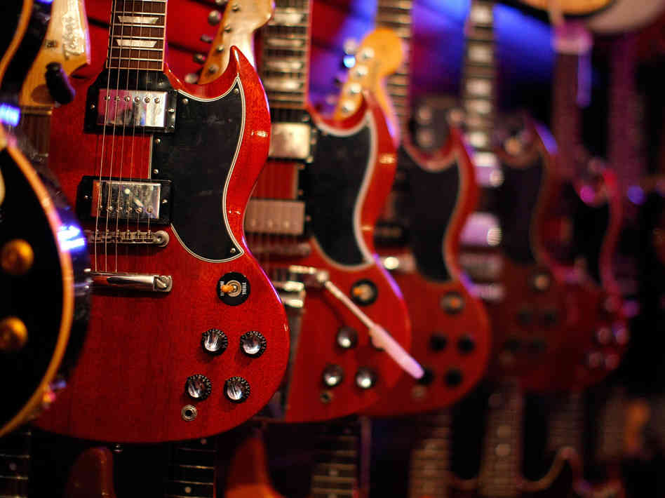 Gibson guitars on sale in New York City.